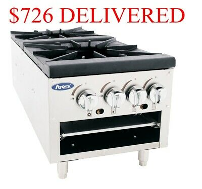 Double Gas Stock Pot Stove Range 2 Cast Iron Burners low profile Soups Entrees
