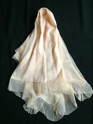 True Vintage 1920-30 Peach Silk & Dotted Swiss Netting 32 X 36 Fine & Delicate