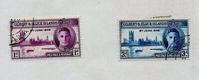 Gilbert & Ellice Islands 1946 Scott #52-53 Set of (2) Peace Commemoratives Used