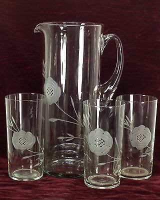 Vintage Etched Glass Pitcher & 3 Glasses - Applied Handle