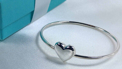 Tiffany & Co. Heart Wire Bangle Cuff Bracelet Size Small Sterling Silver 925