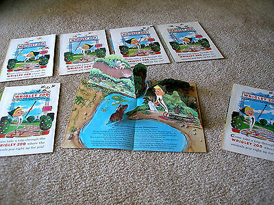 "Seven (7) ""WRIGLEY ZOO"" Animal Pop-up Advertisements for Wrigley's Spearmint Gum"