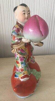 Antique Porcelain Hand Painted Statue Vintage Chinese Art Longevity Old Figurine