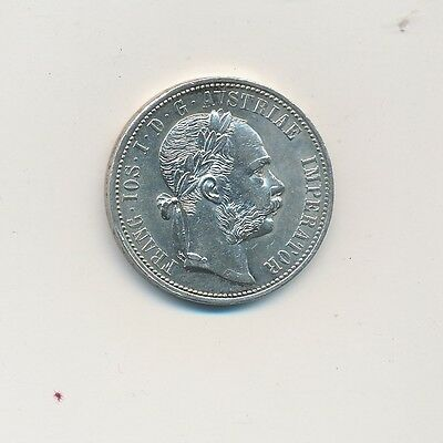 1875 Austria Silver One Florin -Uncirculated- Beautiful Coin-Ships Free!