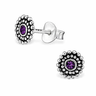 925 Sterling Silver Crystal Amethyst Round Circle Kids Girl Women Stud Earring