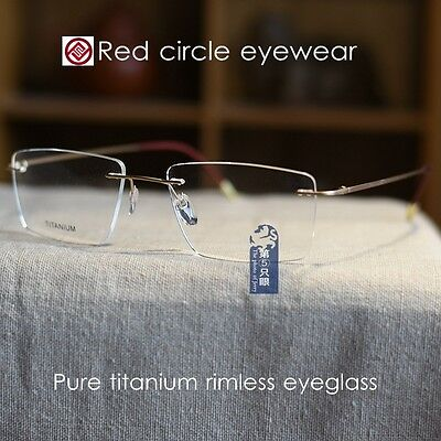 54mm pure titanium Eyeglass Frame rimless golden mens Spectacle Optical RX-able