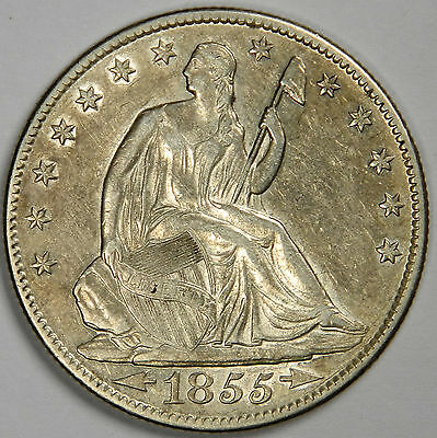 1855-O Seated Half Dollar - Original Luster Choice Au About Uncirculated++!