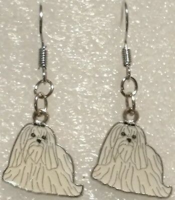 White Maltese Dog Dangle Silver Hook Handmade Earrings