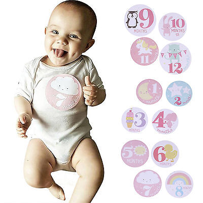 1-12 Months Baby Girl Boy Infant Monthly Stickers Photo Props Baby Shower Decor
