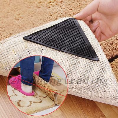 4Pcs Anti Slip Rug Carpet Anti Skid Reusable Washable Tape Home Bath Grippers