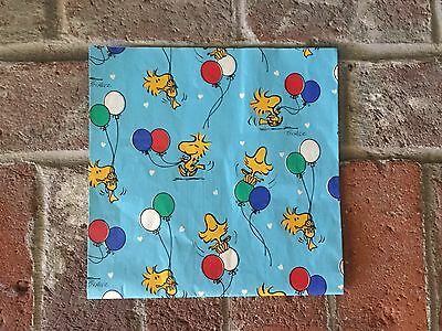 Vintage Hallmark Snoopy Woodstock Wrapping Paper Gift Wrap 1980's 1 Sheet 30x20""