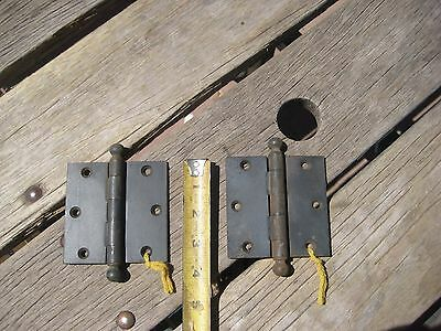"Vintage 3 1/2"" * STANLEY - Sweetheart * Steel Ball Top Door Hinges Set of 2 USA"