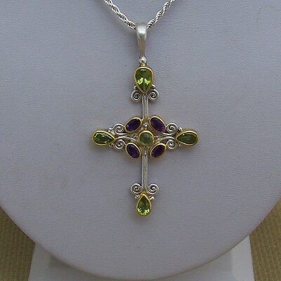 Sterling Silver Signed Cross  Pendant With Colored Gems?