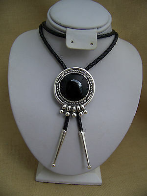 Vintage Signed Sterling Silver and Onyx Navajo Type Design Bolo Tie