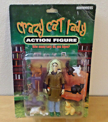 Crazy Cat Lady Action Figure & 6 Cats New Old Stock Unopened 2004