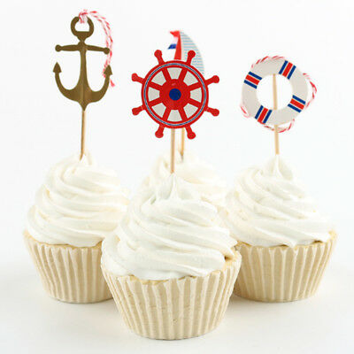 24pcs Anchor Flag Pick Toppers Cupcake Cake Decor Wedding Party Supply