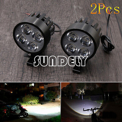 2pcs Black 12-85V Car Motorcycle 4 LED Front Spot Fog Light DRL Headlight Lamp
