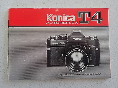 KONICA Autoreflex T4 Guide 1978 Camera Instruction Book User Manual Booklet
