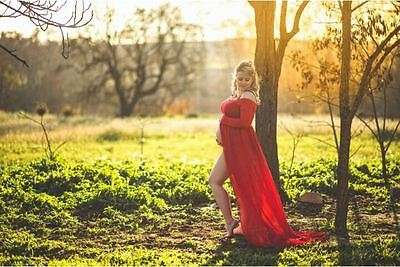 Red Off Shoulder Maternity Dress Gown Drape - Photography Photo Prop