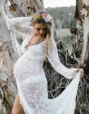 White Lace Open Front Maternity Dress - Photography Photo Prop - Size 8-14