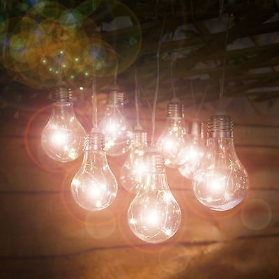 10 Solar Powered Warm White LED Light Bulb String Lights Outdoor Indoor AU
