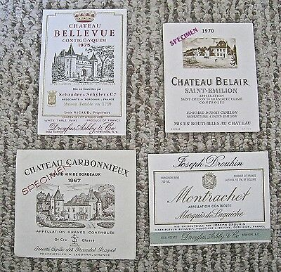 Vintage Wine Label Lot 4 French Wine Labels Chateau Montrachet Belair Assorted