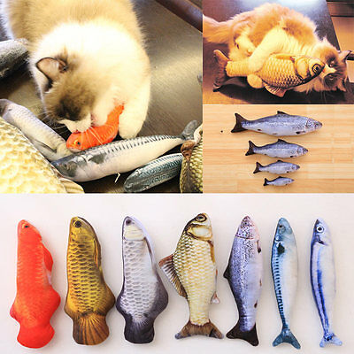 Funny Lifelike Fish Shape Pet Kitten Cat Mint Play Velvet Catnip Interactive Toy