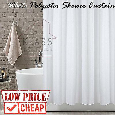 White Polyester  Shower Curtain Bath Bathroom With Hooks X-Long  X-Wide