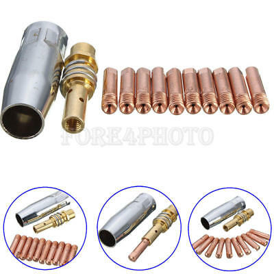 12 pcs MB-15AK MIG/MAG M6 Welding Weld Torch Contact Holder Gas Nozzle 0.8x25mm