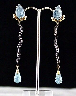 Blue Aquamarine Carved Diamond 18K Gold & 925 Silver Victorian Earring