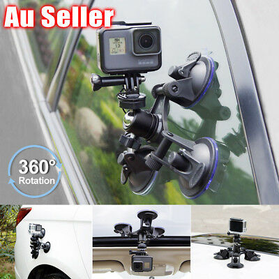 Triple Suction Cup Mounts Glass Sucker Car Holder For GoPro Hero 6 5 4 3+2Camera