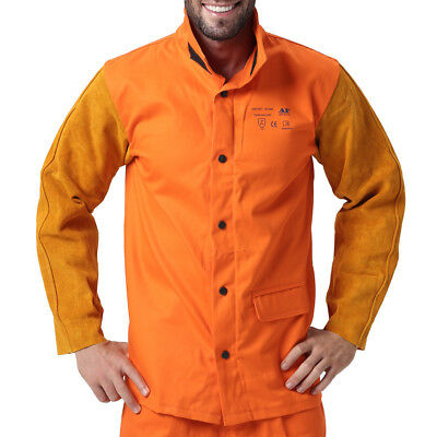 AP-2530 Hybrid Fire Retardant Cotton Welding Jacket w/ Cowhide Leather sleeves