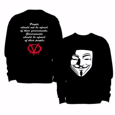 V For Vendetta Anonymous Mask Guy Fawkes Inspired Mask Mens Sweatshirt