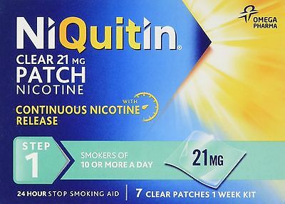 NiQuitin Clear 24 Hour 21mg 7 Patches Step 1 stop smoking 1 Week Kit