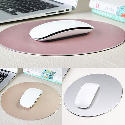 Universal Portable Round Aluminum Pad Mousepad Gaming Mat Mouse Macbook Apple PC