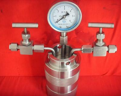 Hydrothermal synthesis Autoclave Reactor vessel inlet outlet gauge 200ml 6Mpa a