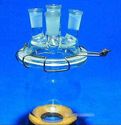 1000ml,24/40,Glass Reaction Reactor,1L,4-Necks Reaction Vessel W/Lid and Clamp a