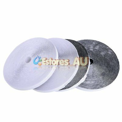 25M Heavy Duty Self Adhesive Sticky Hook And Loop Fastening Tape Black / White