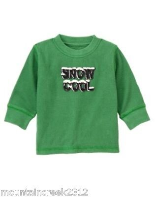 New GYMBOREE Boys Shirt SNOW TRACKS Size 6 12 18 24 months Waffle Knit Top Green