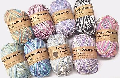 4 x MALLI Knitting Yarn Mult -  Colors 8 Ply 95g/ Roll 3mm Thickness New (p2)