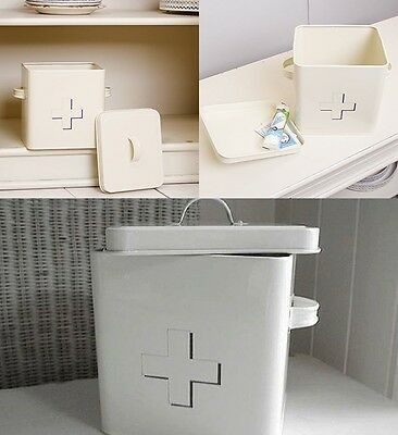 Vintage First Aid Medical Box Containers Storage With Lid Handle White Or Cream