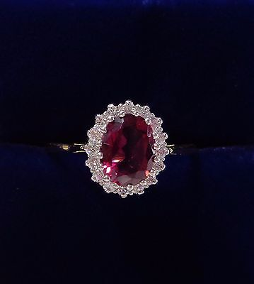 18ct Yellow Gold Pink Tourmaline and Diamond Cluster Ring - Size P