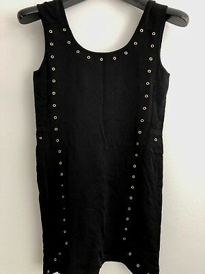 Versace Woman Black Dress With Gold Accessories Size 42 Made In