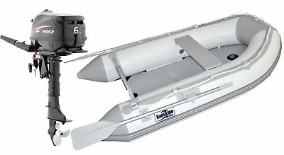 Nautiline inflatable boat PLYWOOD 420 with Hidea outboard engine - 4 strokes 6 H