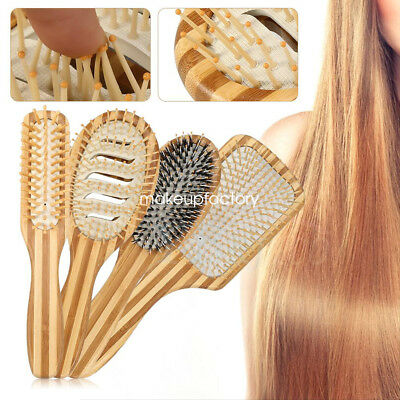 Wooden Bamboo Hair Vent Brush Brushes Hair Care and Beauty SPA Massager Comb MF