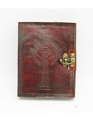 "Leather Embossed Celtic Cross Journal w/ Metal Lock, 6"" x 8"" Handmade Paper"