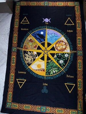 Pagan & Wiccan bedspread/altar cloth/ wall hanging. Wheel of the year.