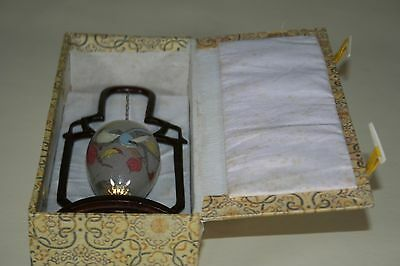 Vintage Chinese Reverse / Inside Painted Glass Egg On Stand With Box