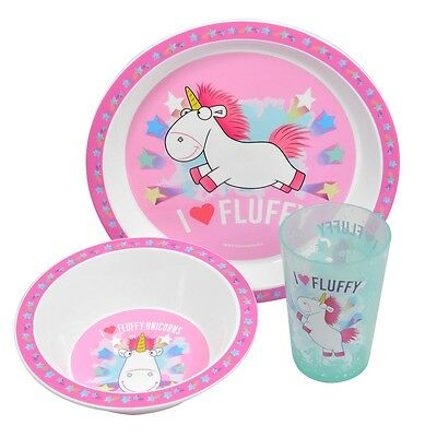 Despicable Me Fluffy Unicorn 3pc Melamine Tumbler, Bowl & Plate Mealtime Set