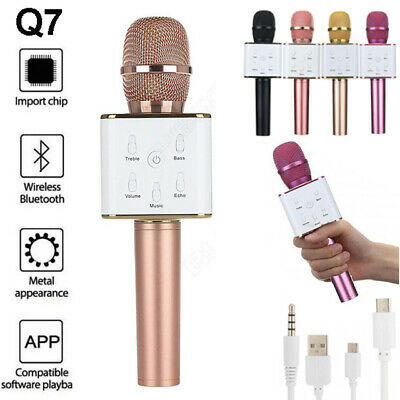 Q7 Wireless Karaoke Microphone Bluetooth Handheld Usb Mic Singing Ktv Speaker Uk